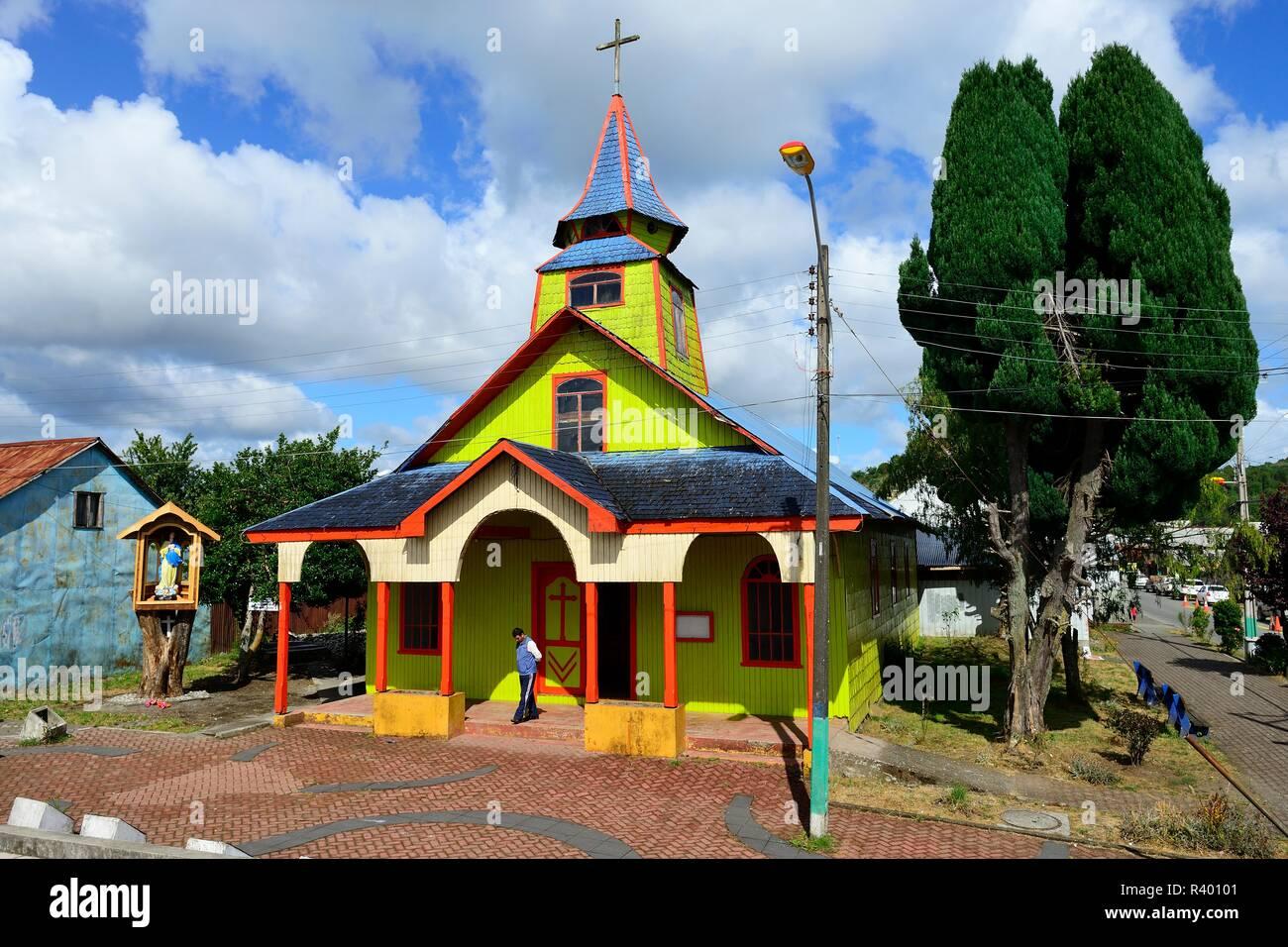 Colourful wooden church Iglesia San José, Quemchi, Chiloé Island, Chile - Stock Image