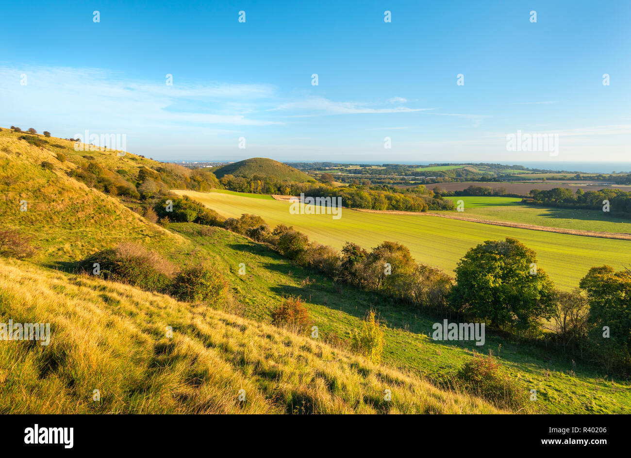 A view from the Kent Downs near Folkestone towards the iconic shape of Summerhouse Hill. - Stock Image