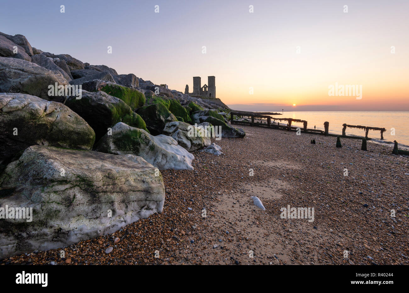 Reculver Towers on the North Kent coast near Herne Bay at sunset. Stock Photo