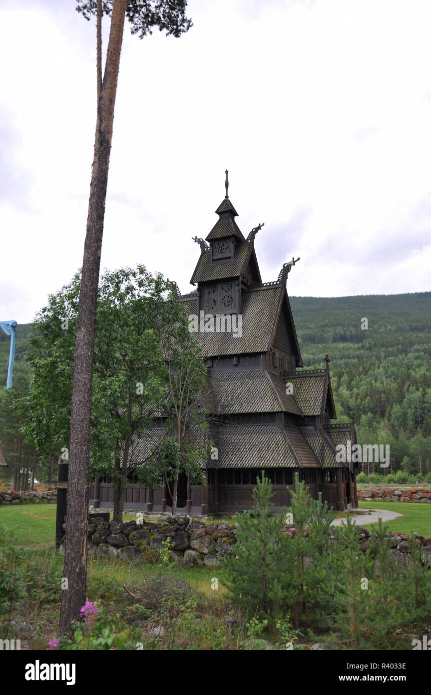 stave church of gol replica norway - Stock Image