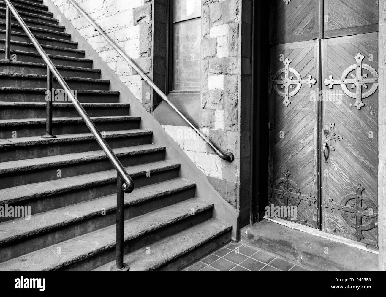 Boston, Massachusetts, USA. Trinity Church stairway detail. - Stock Image