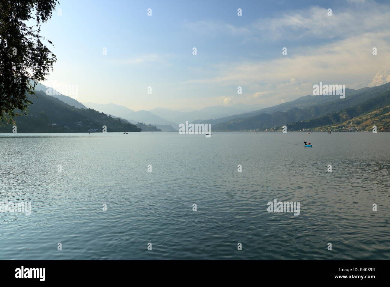 Beautiful landscape of Phewa Lake in Pokhara in Nepal - Stock Image