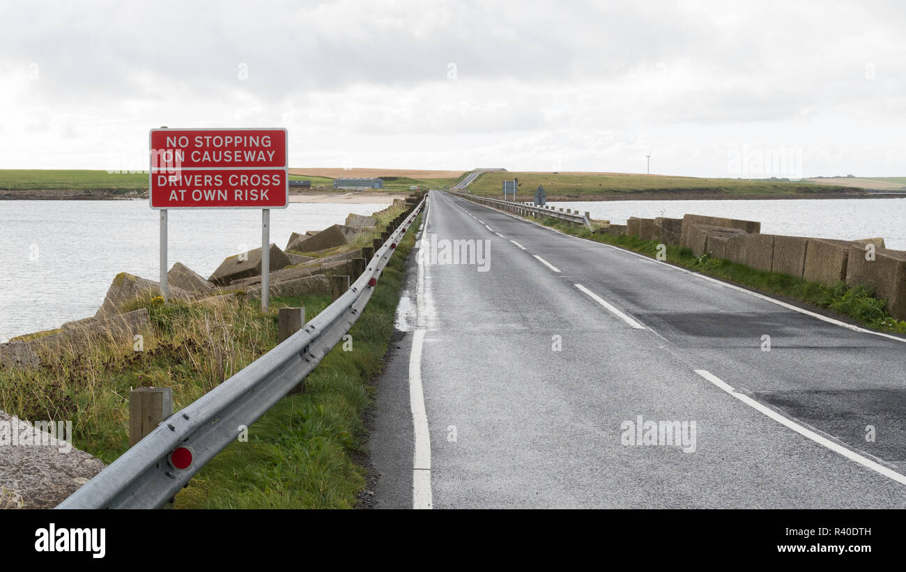 Churchill Barrier causeway, Orkney, Scotland, UK - Stock Image