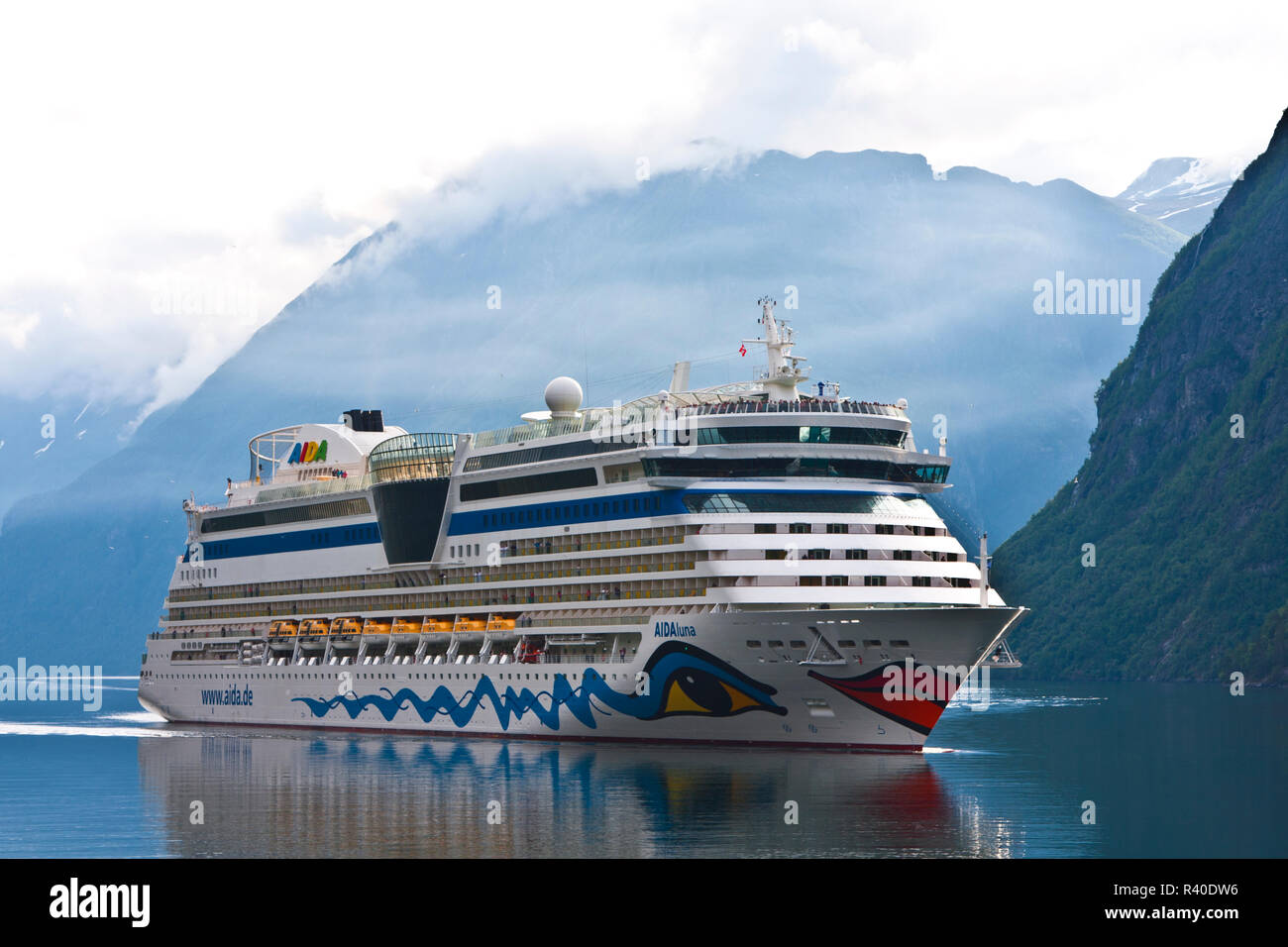 Norway, cruise liner AidaLuna at Geiranger on the Geirangerfjord, - Stock Image