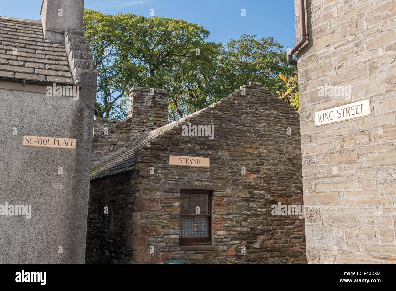 Traditional Street Signs in Kirkwall Conservation Area, Orkney, Scotland, UK - Stock Image