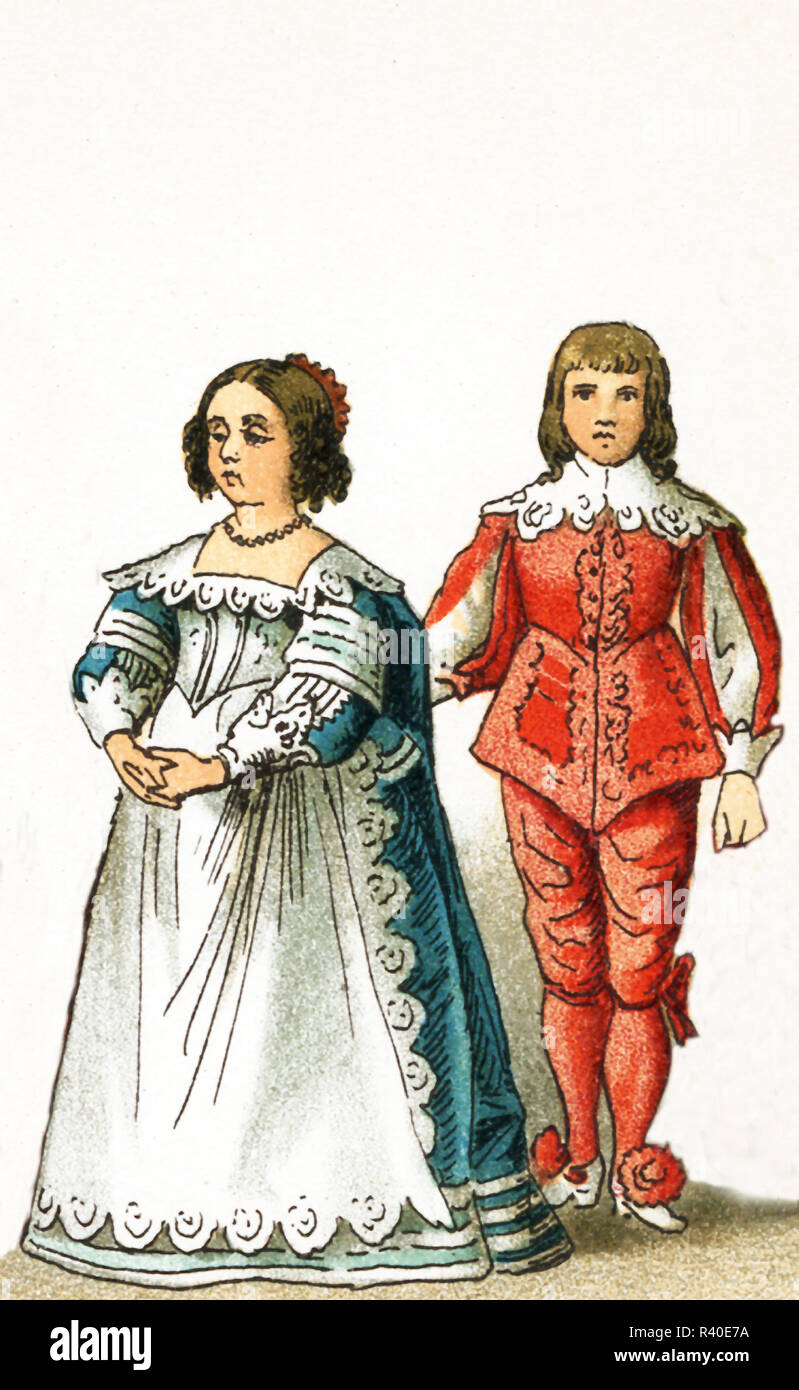 The figures represented here are the children of Henrietta Maria, Consort of Charles I, daughter of Charles I, and son of Charles I, Charles I was king of England, Scotland, and Ireland from 1625 until his execution in 1649. He was a Stuart and the second son of James VI of Scotland. The illustration dates to 1882. - Stock Image