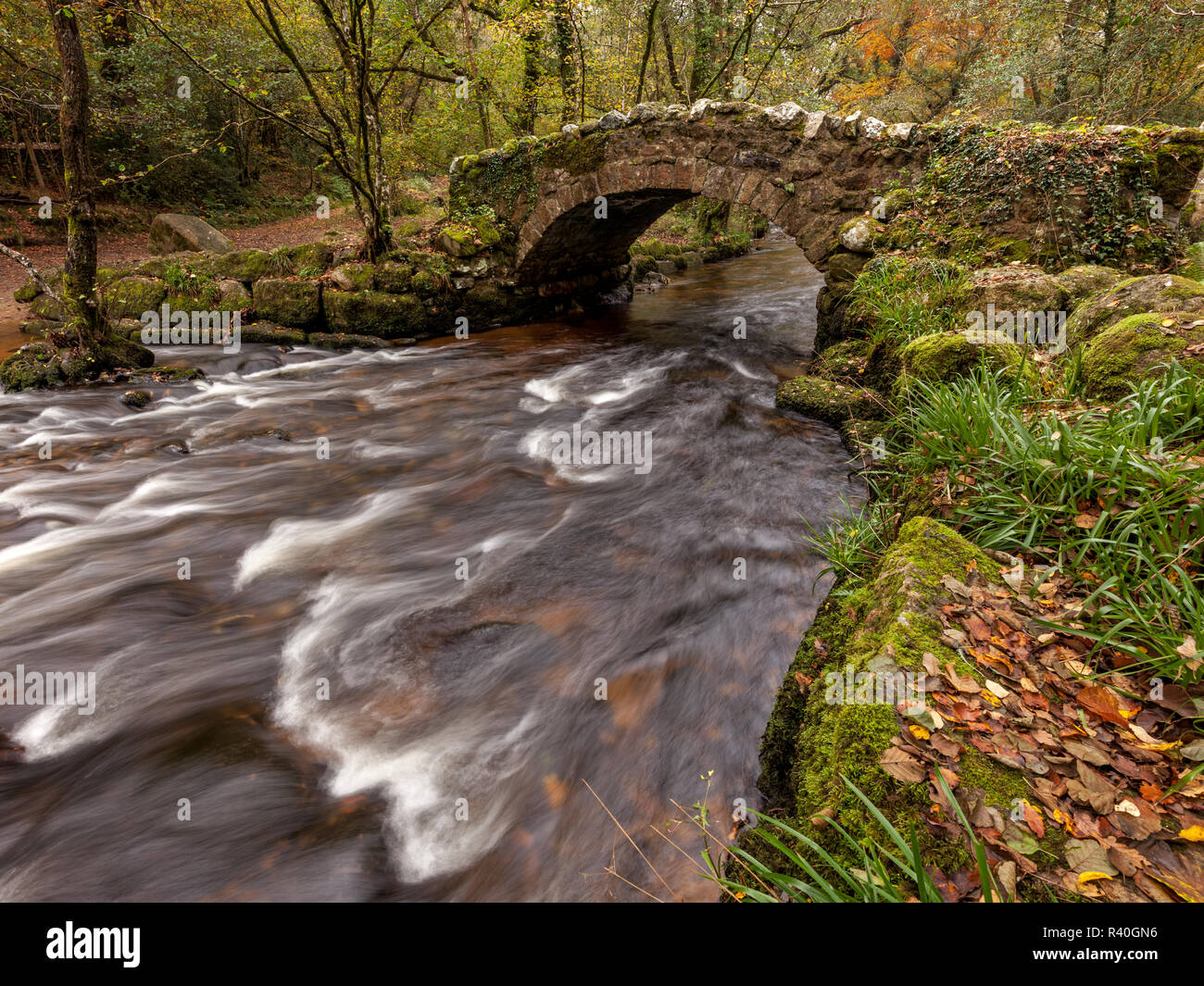 The River Bovey at Hisley Bridge, Dartmoor National Park - Stock Image