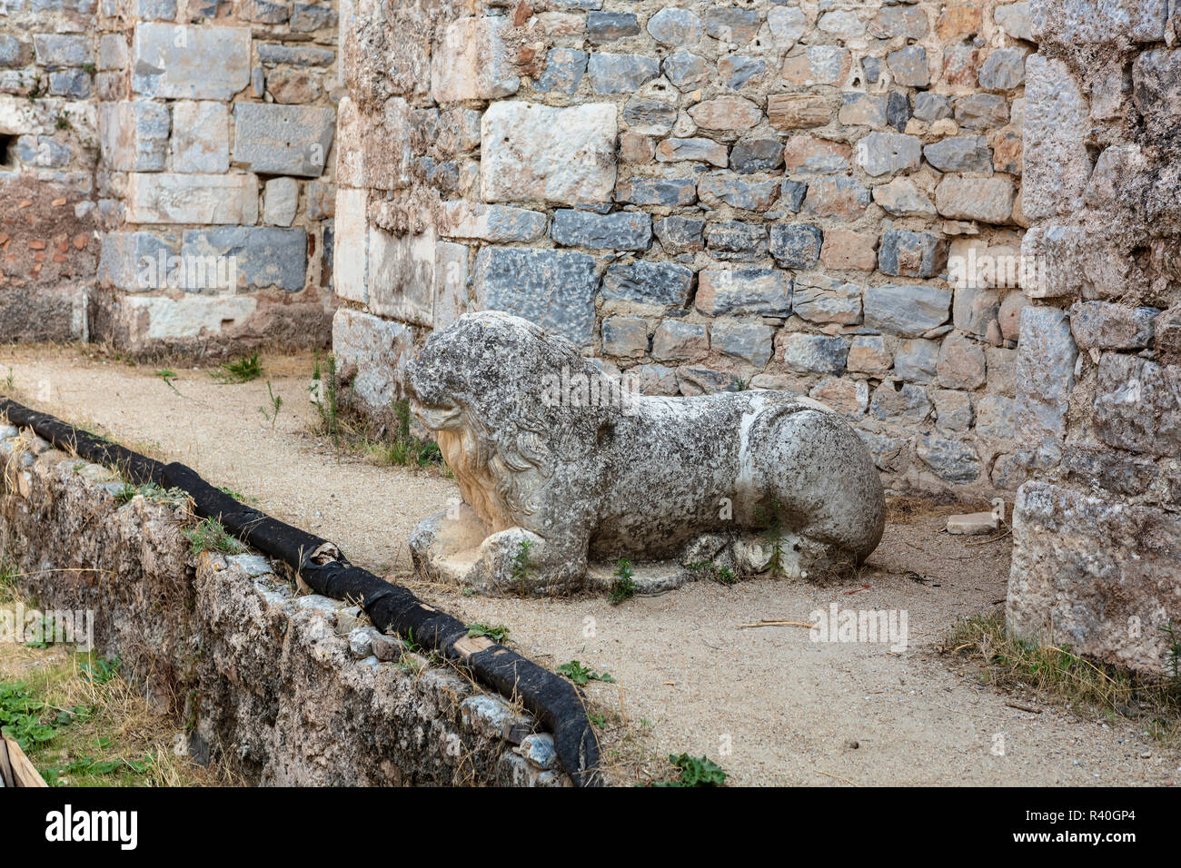 Sculpture of lion at the ruins of Faustina Baths at the Miletus archaeological site in the Aydin Province, Turkey. - Stock Image