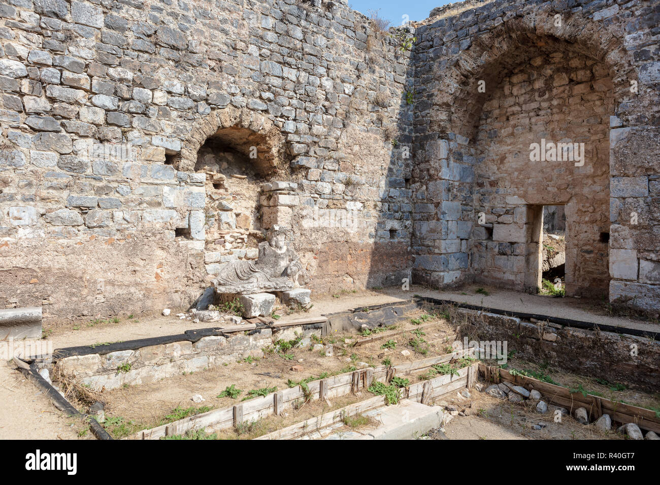 Sculpture  of the river god Maindros at the ruins of Faustina Baths in Miletus in the Aydin Province, Turkey. - Stock Image