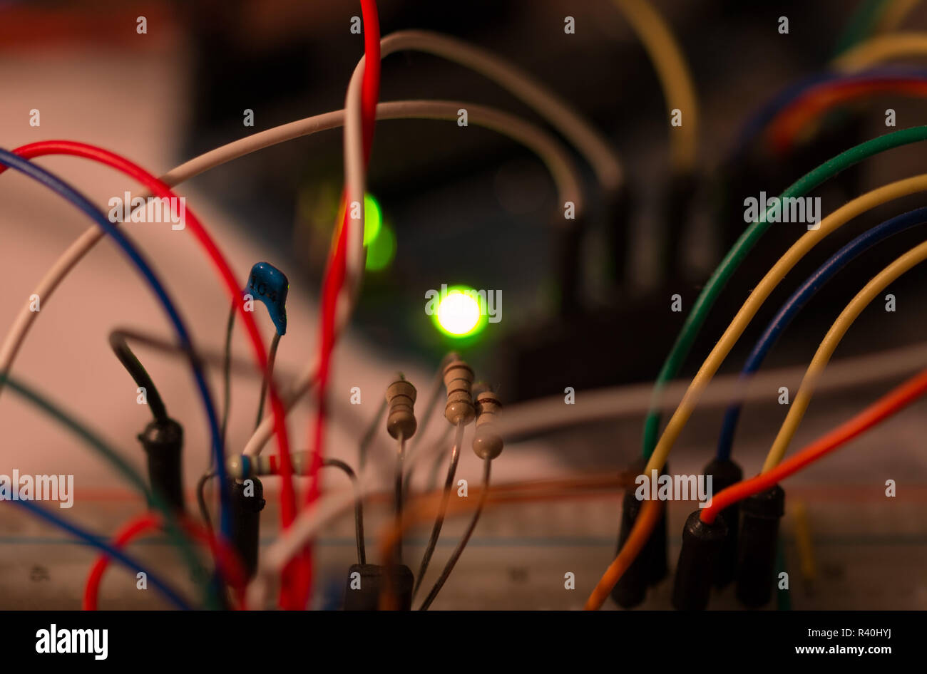 Breadboard Prototype Circuit Stock Photos Electronic Diagram Robotic An With Components Matching The