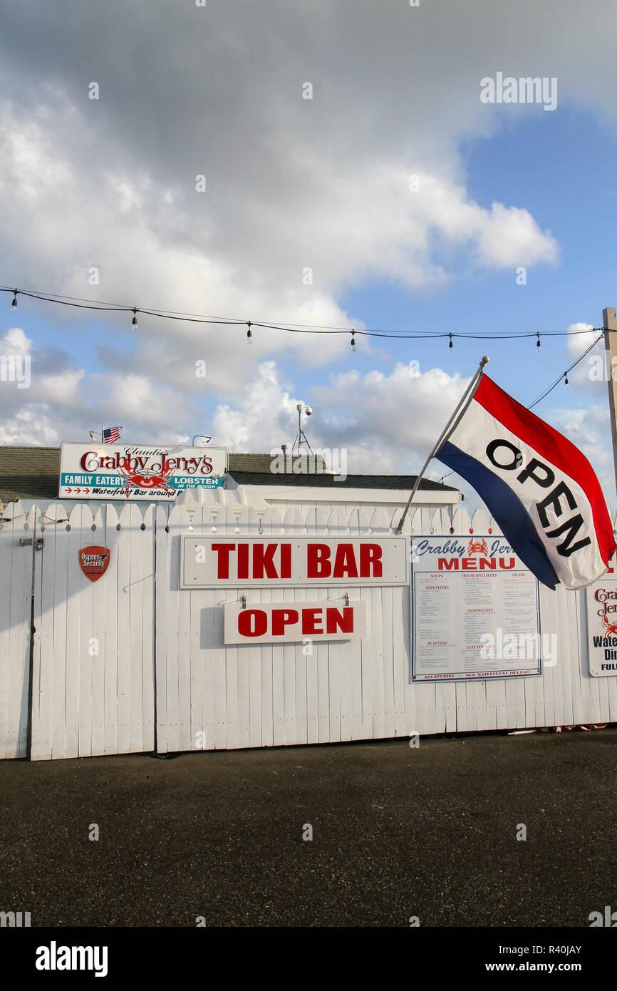 Outside Crabby Jerry's Restaurant, Greenport, Long Island, New York, Usa. Stock Photo