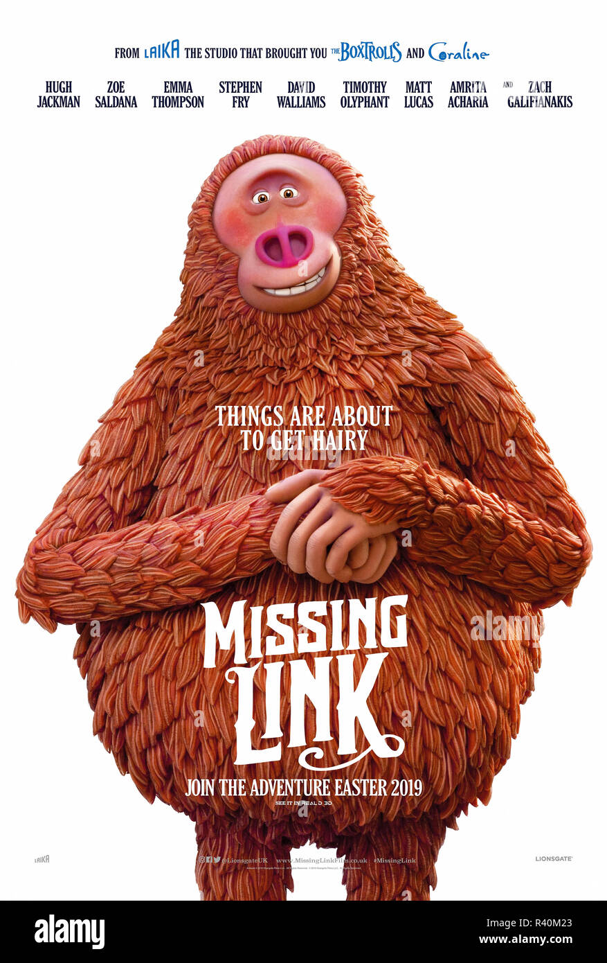 Missing Link (2019) directed by Chris Butler and starring Hugh Jackman, Zoe Saldana, Emma Thompson and Timothy Olyphant. Mr Link joins an expedition to the valley of Shangri-La. - Stock Image