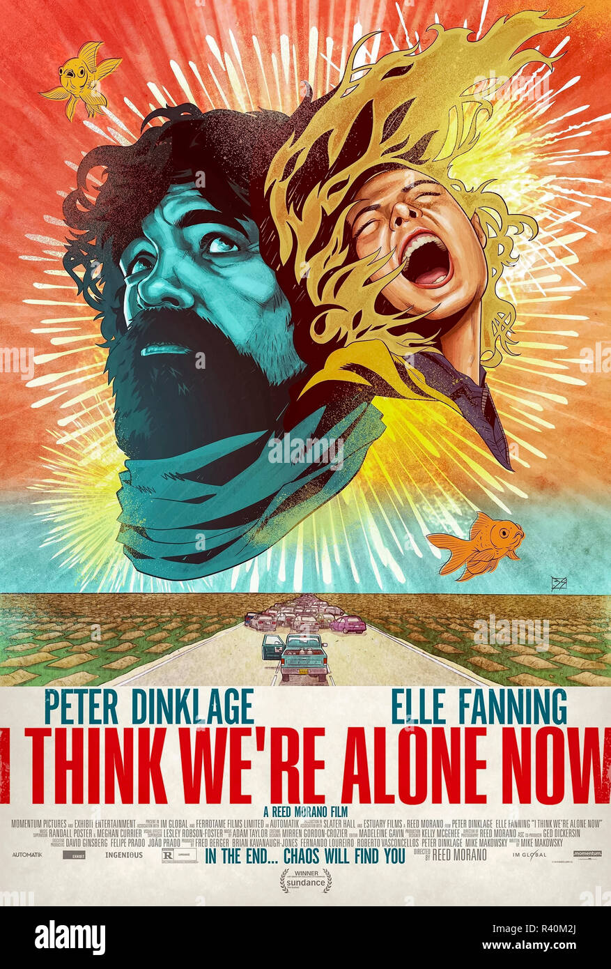I Think We're Alone Now (2018) directed by Reed Morano and starring Peter Dinklage, Elle Fanning, Charlotte Gainsbourg and Paul Giamatti. Del thinks he is the sole survivor of the human race and lives happily until Grace arrives. - Stock Image