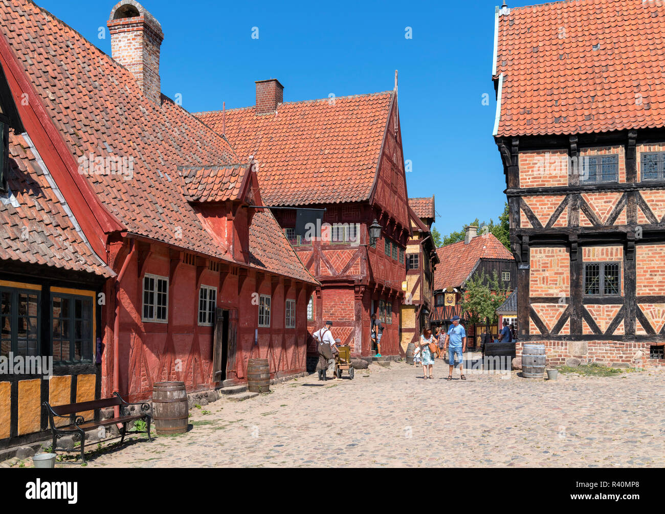 The Market Square (Torvet) in The Old Town (Den Gamle By), an open air museum in Aarhus, Denmark - Stock Image