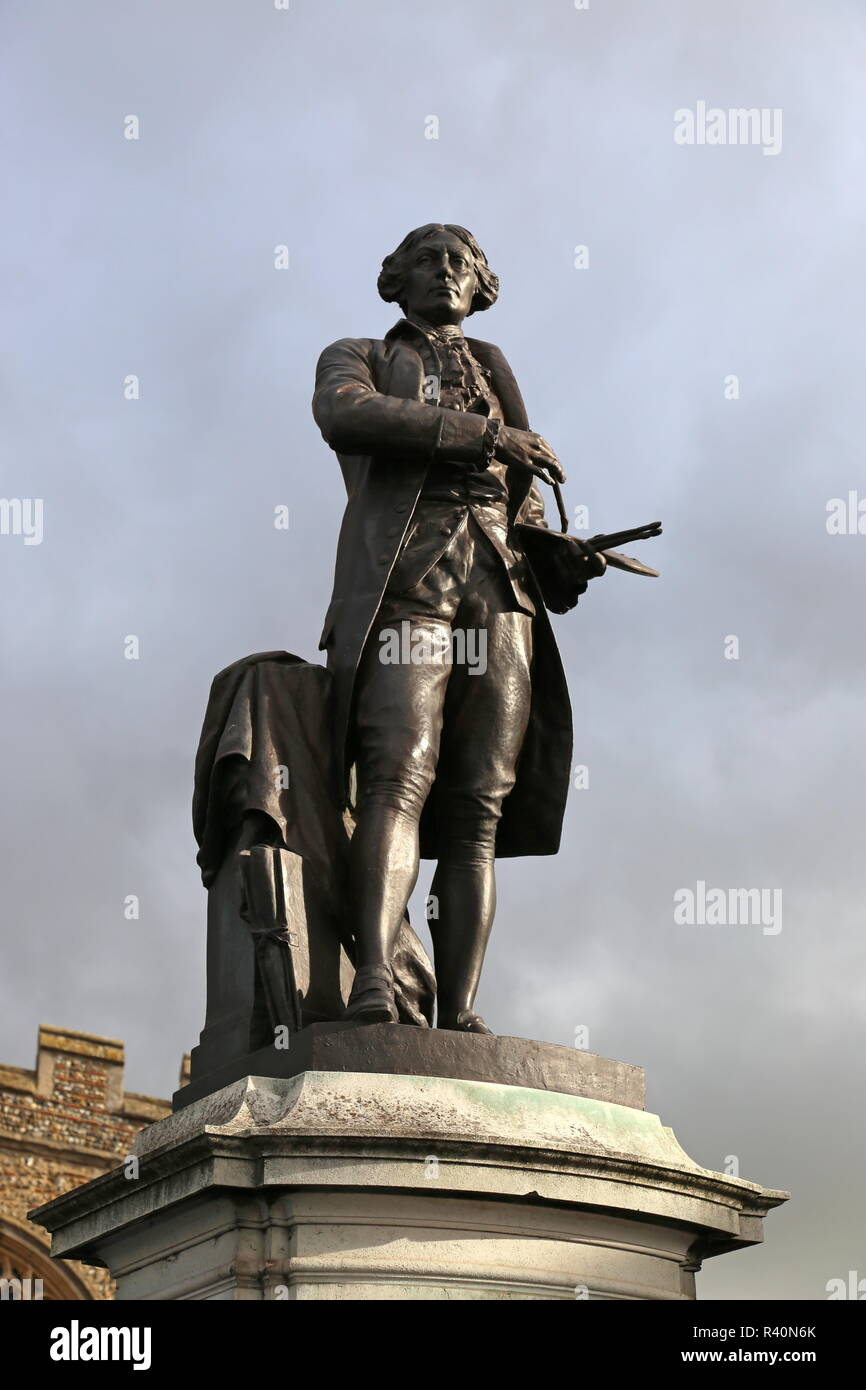 Statue of painter Thomas Gainsborough, Market Hill, Sudbury, Babergh district, Suffolk, East Anglia, England, Great Britain, United Kingdom UK, Europe - Stock Image