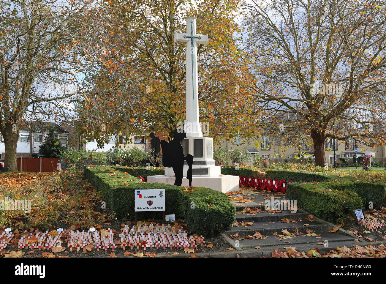 War Memorial, Gregory Street, Sudbury, Babergh district, Suffolk, East Anglia, England, Great Britain, United Kingdom, UK, Europe - Stock Image