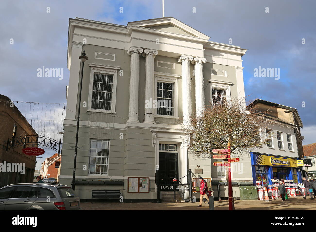 Town Hall, Market Hill, Sudbury, Babergh district, Suffolk, East Anglia, England, Great Britain, United Kingdom, UK, Europe - Stock Image