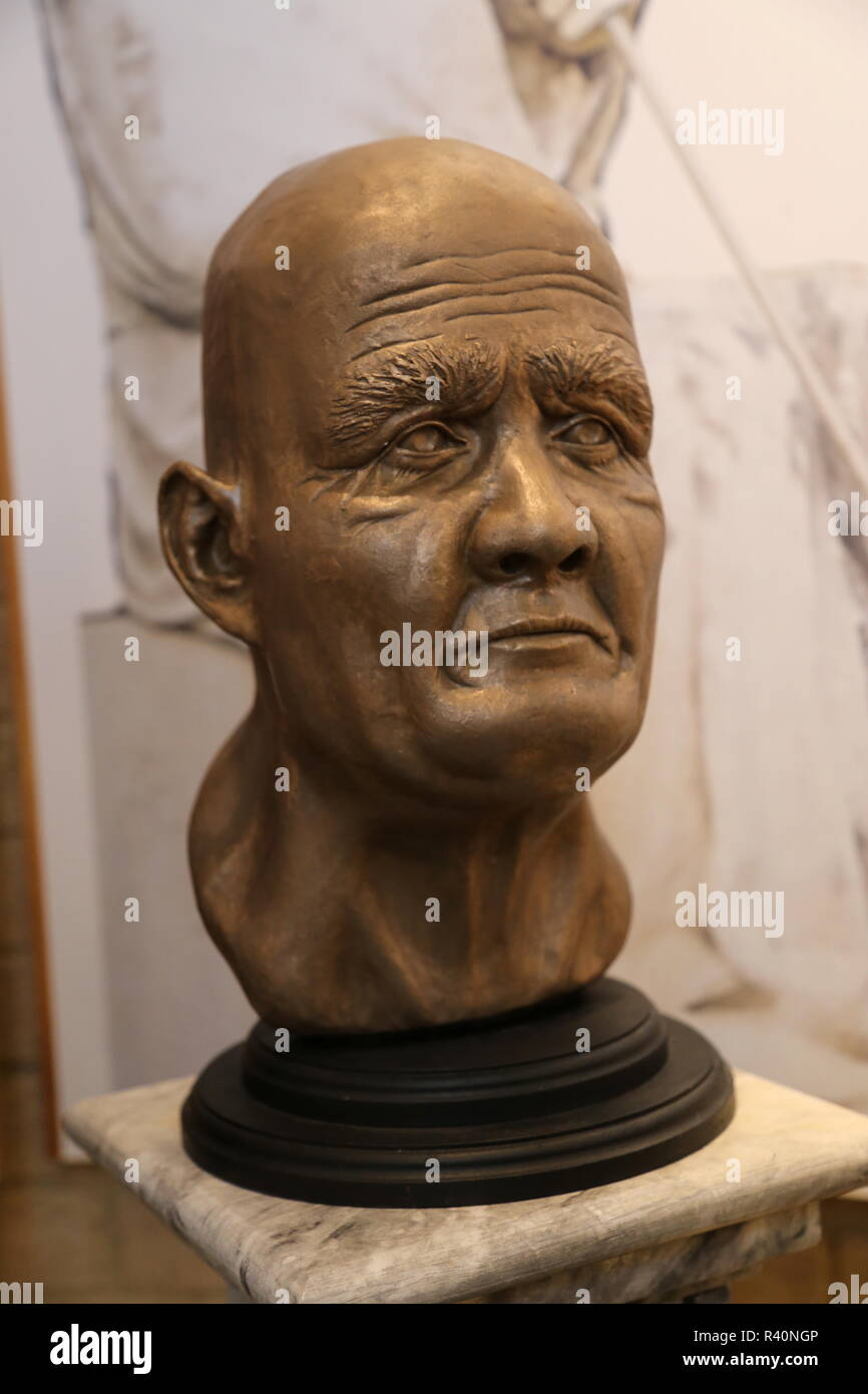 Simon of Sudbury bust, Heritage Centre, Gaol Lane, Sudbury, Babergh district, Suffolk, East Anglia, England, Great Britain, United Kingdom, UK, Europe - Stock Image