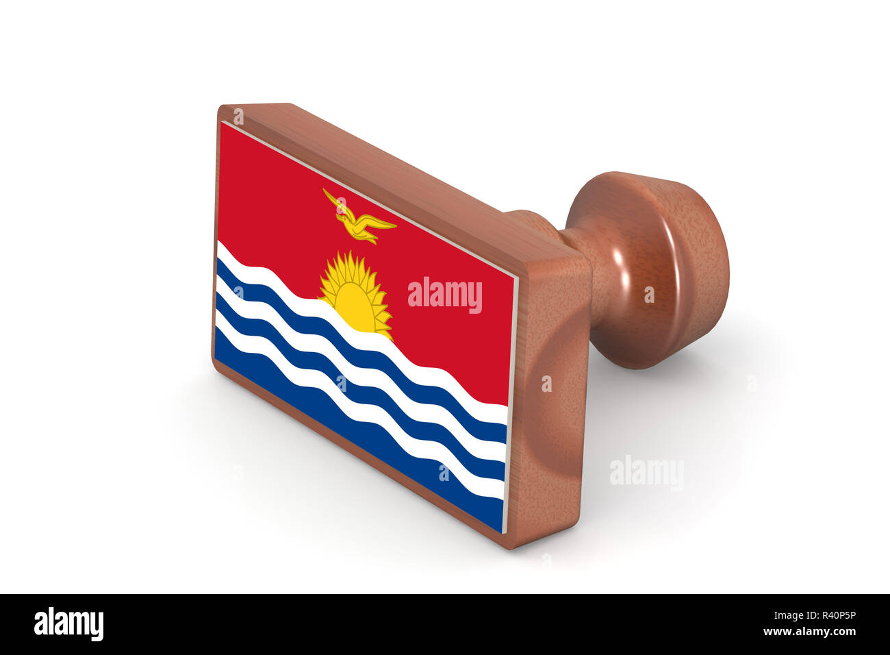 Wooden stamp with Kiribati flag - Stock Image