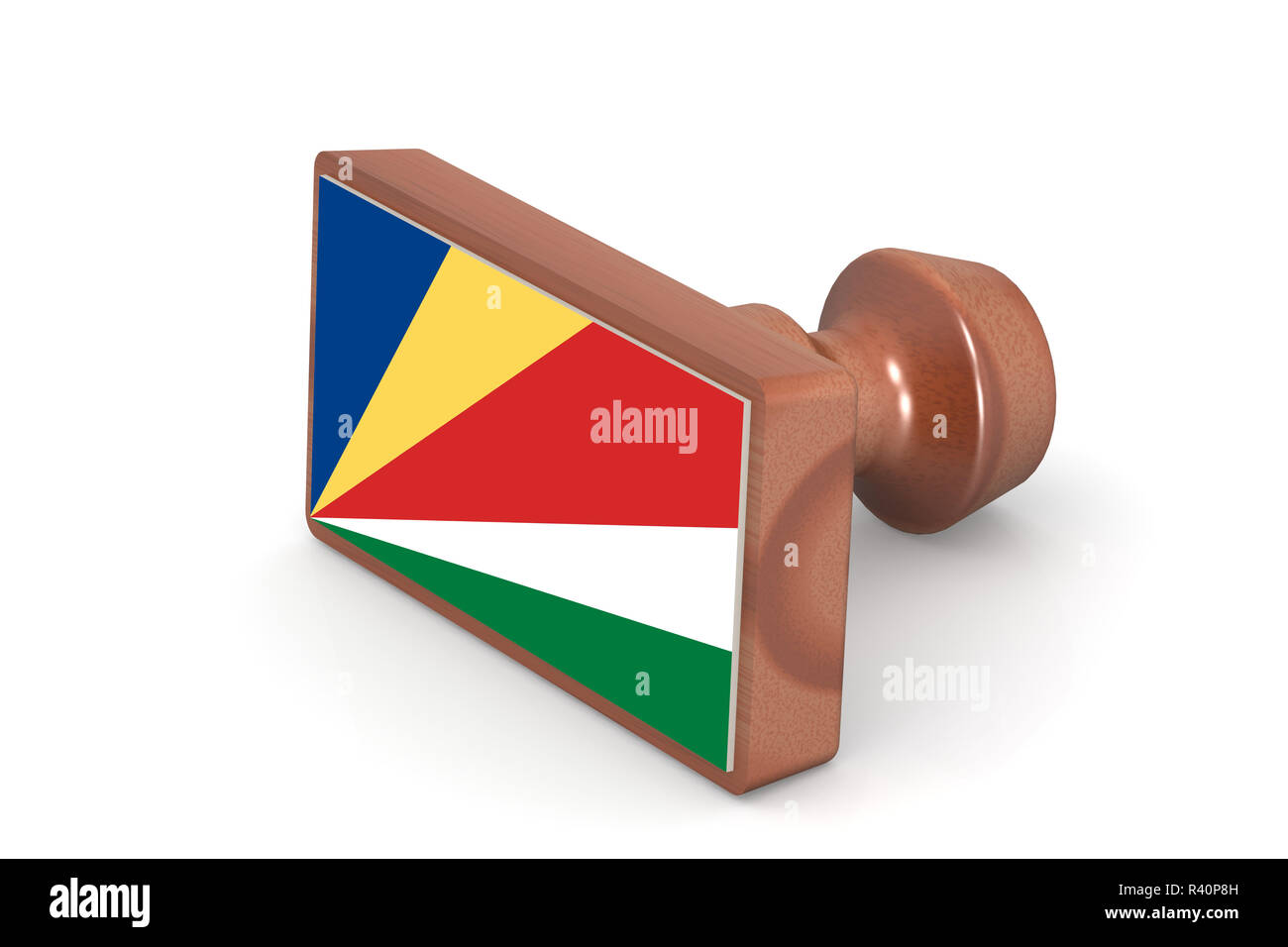 Wooden stamp with Seychelles flag - Stock Image