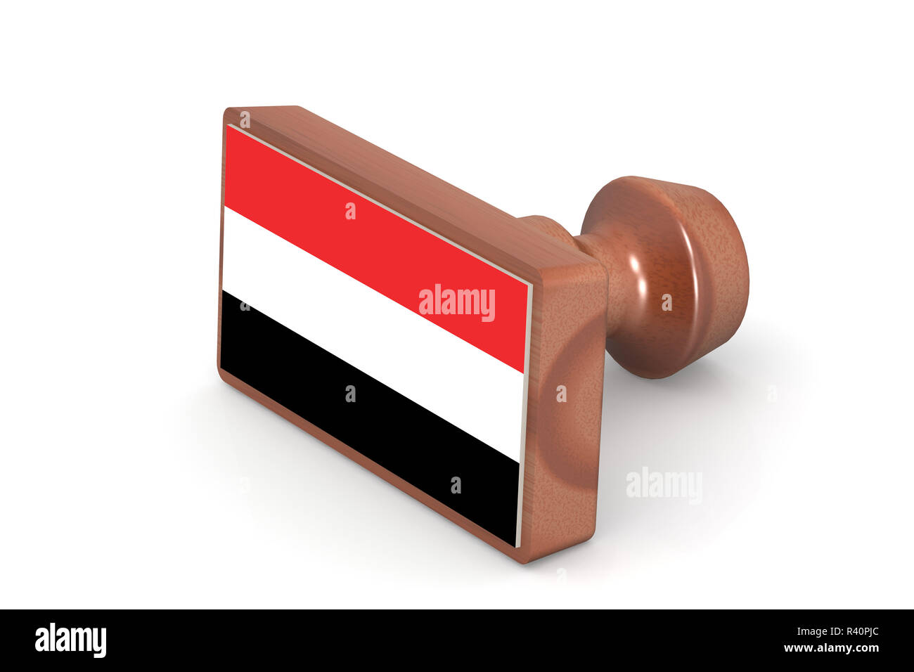 Wooden stamp with Yemen flag - Stock Image
