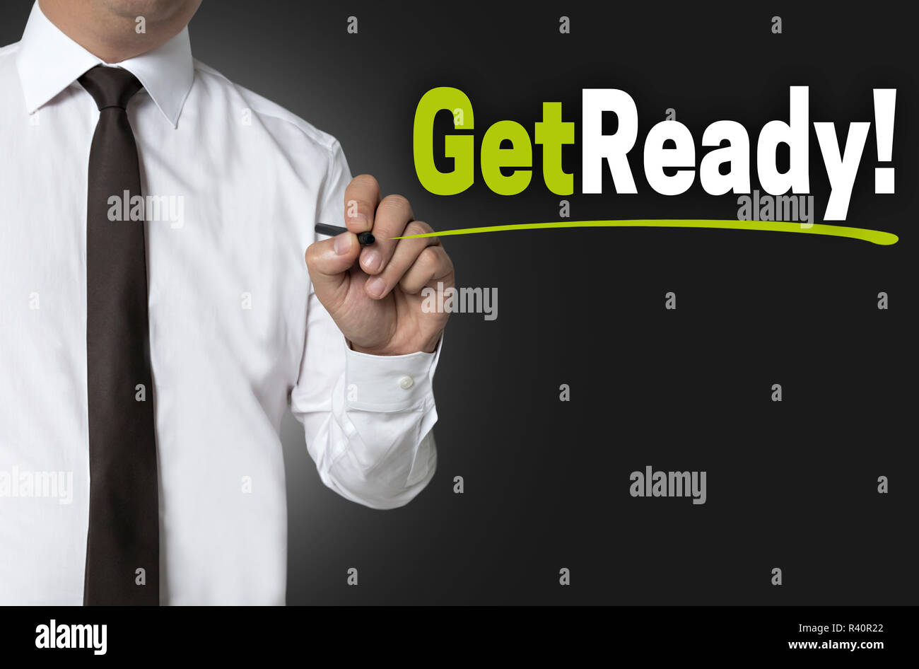 get ready is written by businessman background concept - Stock Image