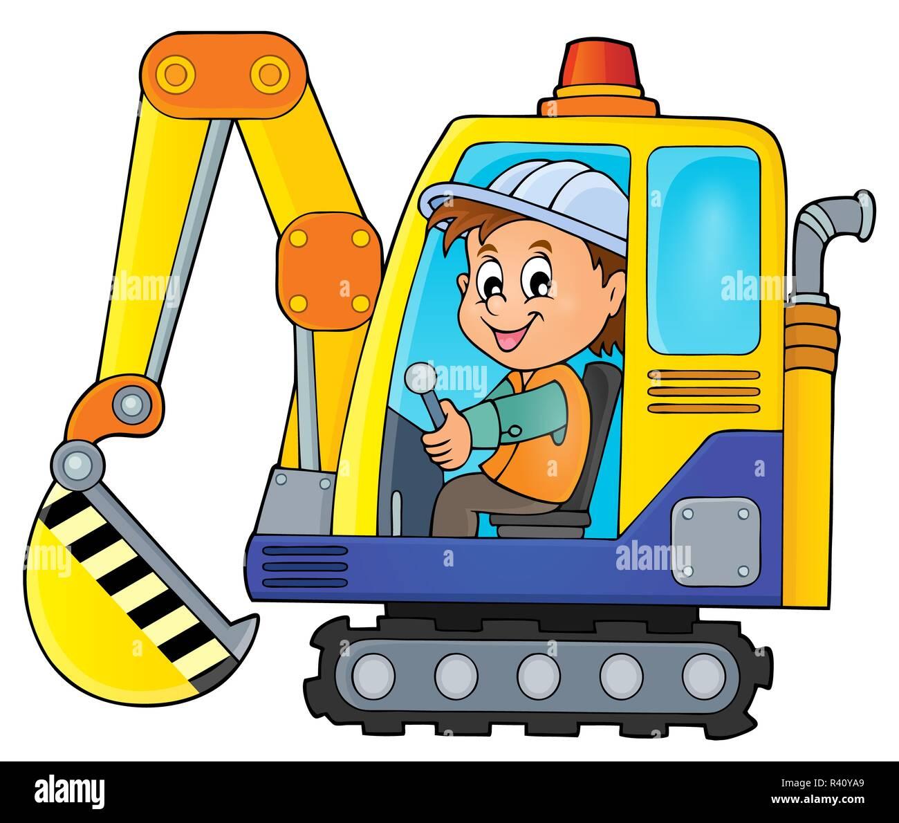 Excavator operator theme image 1 - Stock Image