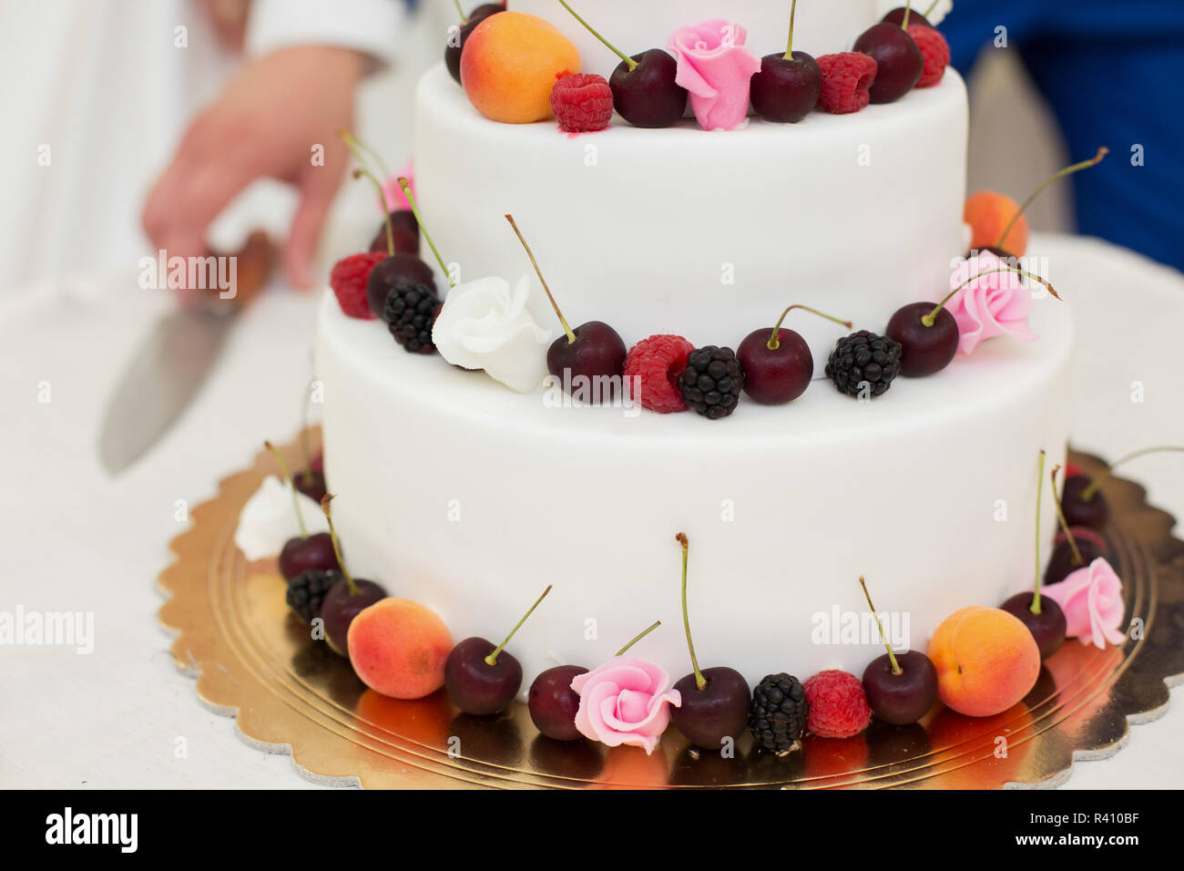 Wedding Cake With Fruit Stock Photo 226215683 Alamy