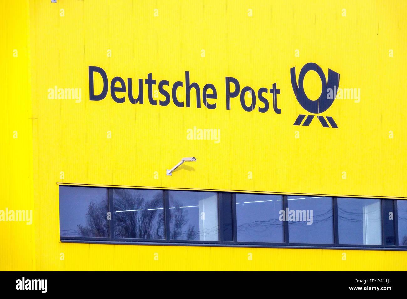 Deutsche Post Logo, Distribution Center, Berlin Germany - Stock Image