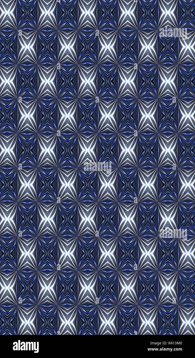 A bold blue and silver toned gorgeous abstract pattern. - Stock Image