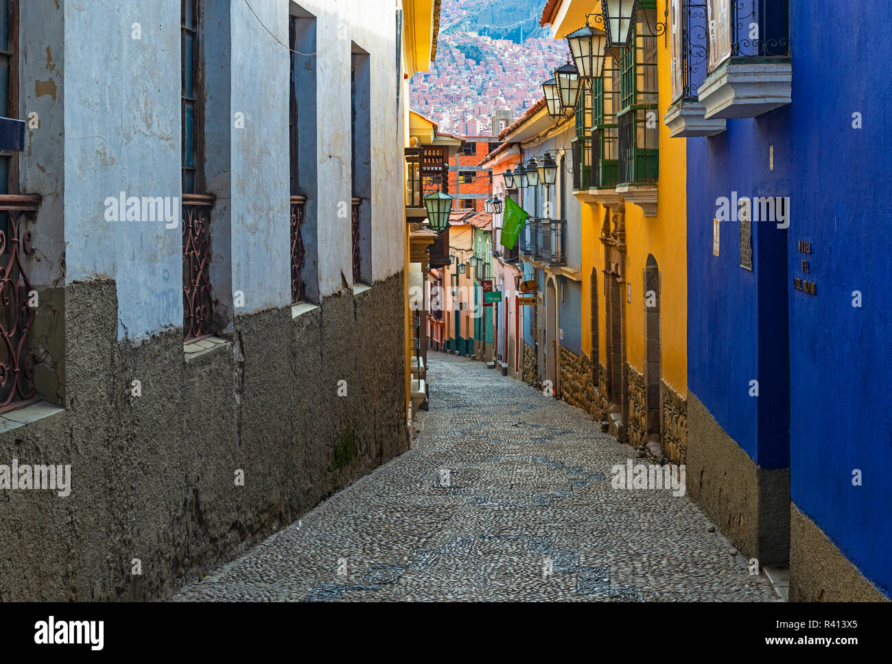 Cityscape of the architecture of La Paz in the Jaen street with its colourful Spanish colonial architecture style, Bolivia. - Stock Image