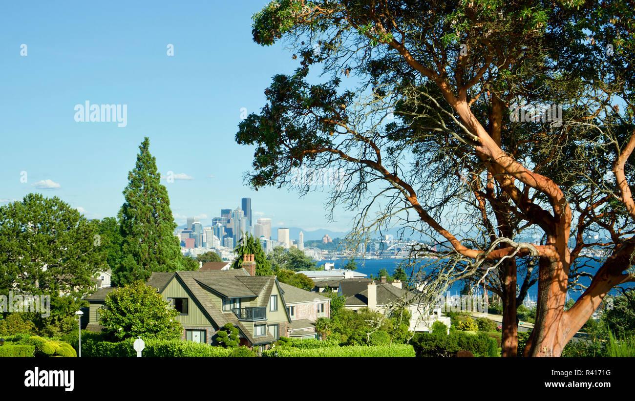 Usa Washington State Seattle Views From Magnolia Elliot Bay The