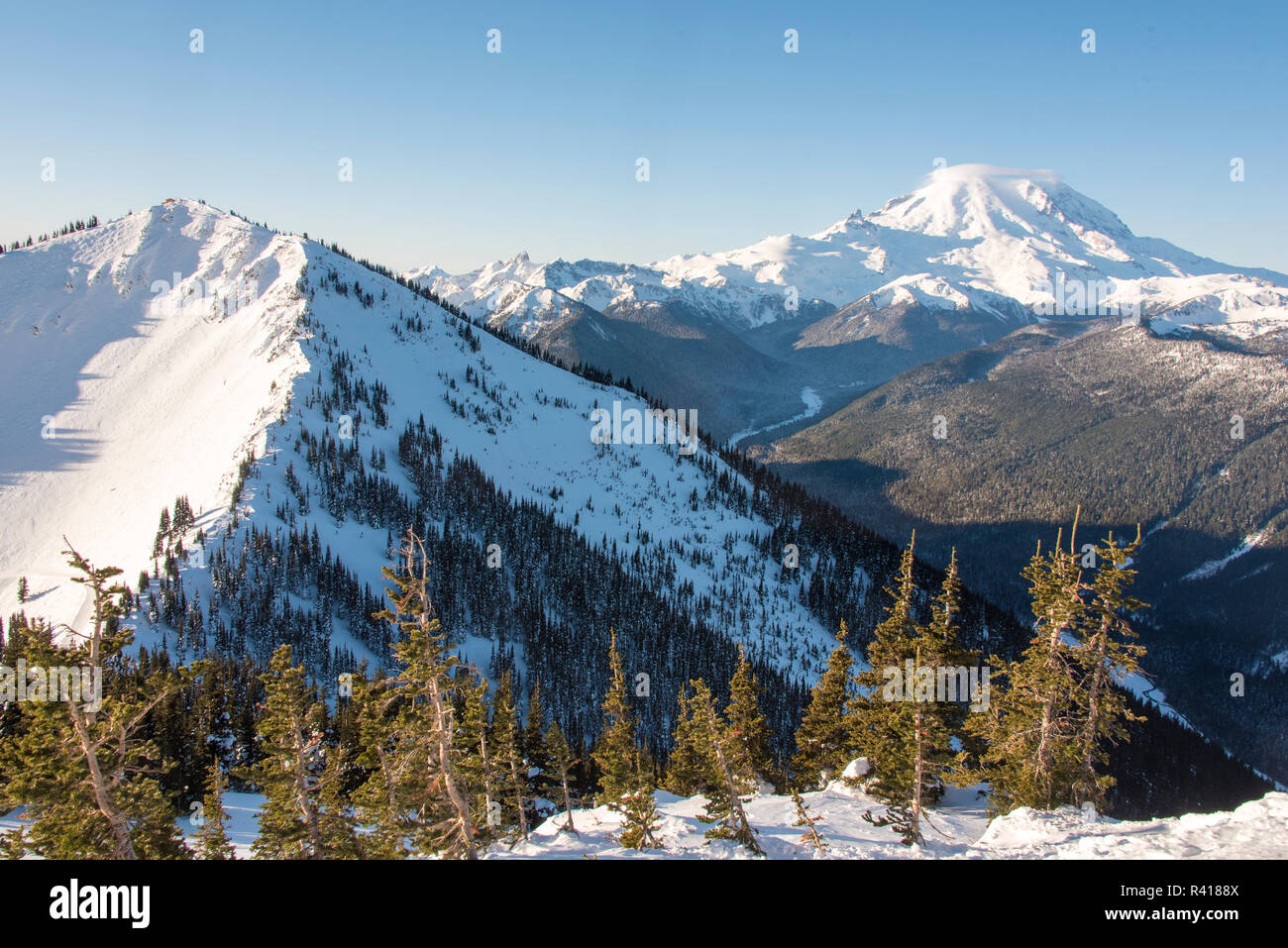 usa, washington state. crystal mountain resort. mt. rainier with cap