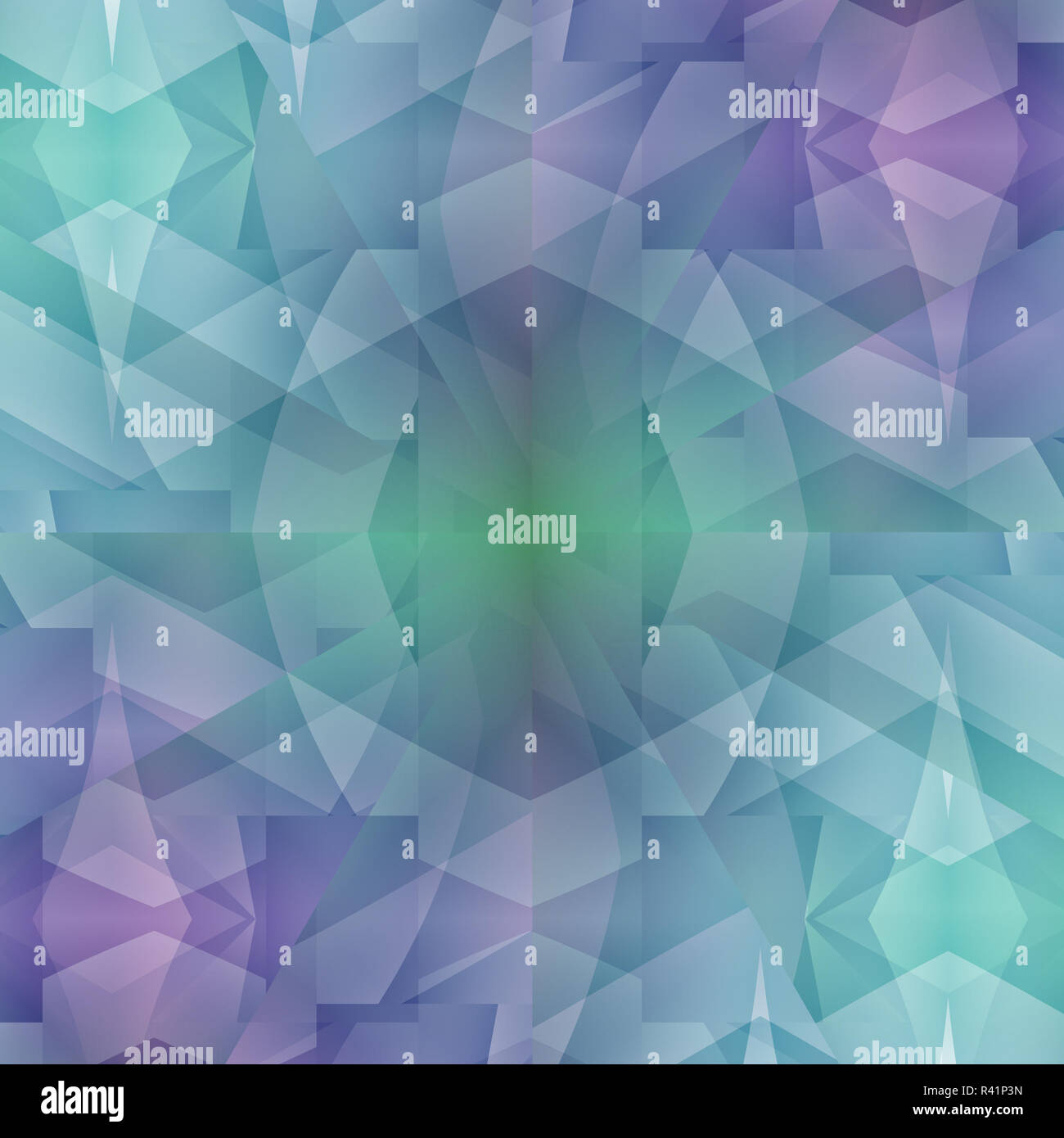 Modern abstract geometric background, seamless manifold diamond pattern in turquoise, blue and purple shades, crystal Stock Photo