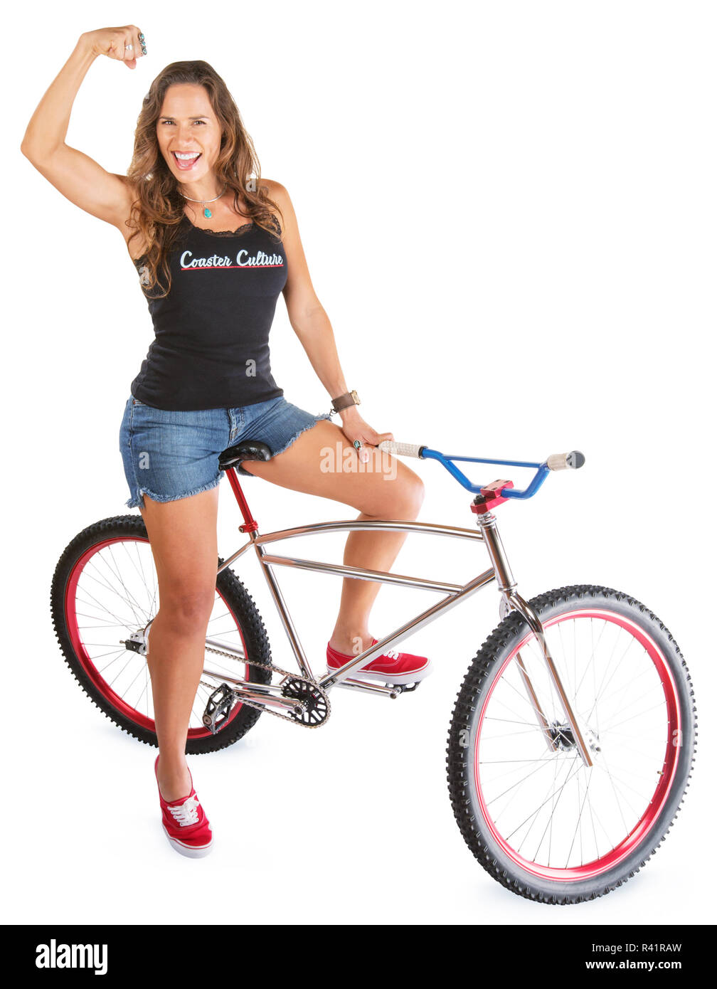 Mountain Bicyclist Flexing Muscle - Stock Image