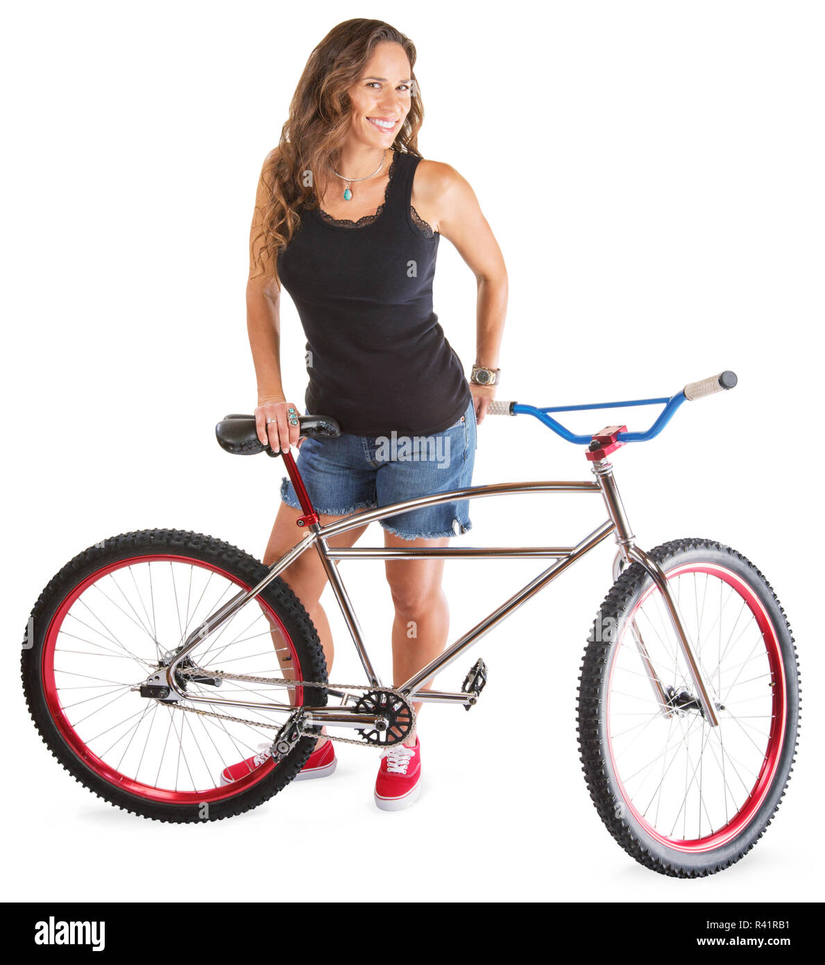 Cute Adult with Mountain Bike - Stock Image