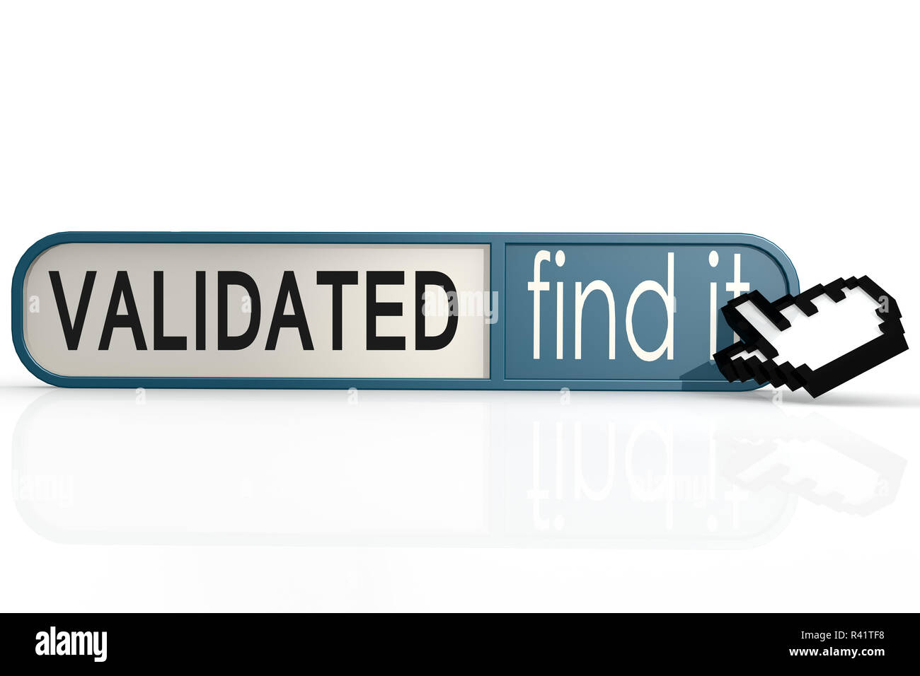 Validated word on the blue find it banner Stock Photo