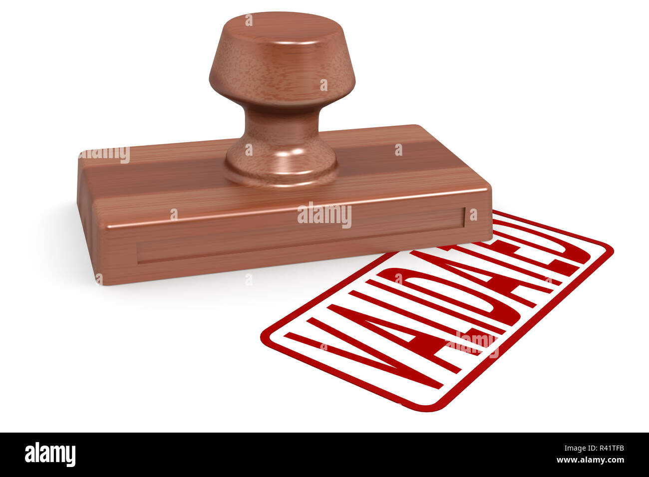 Wooden stamp validated with red text Stock Photo