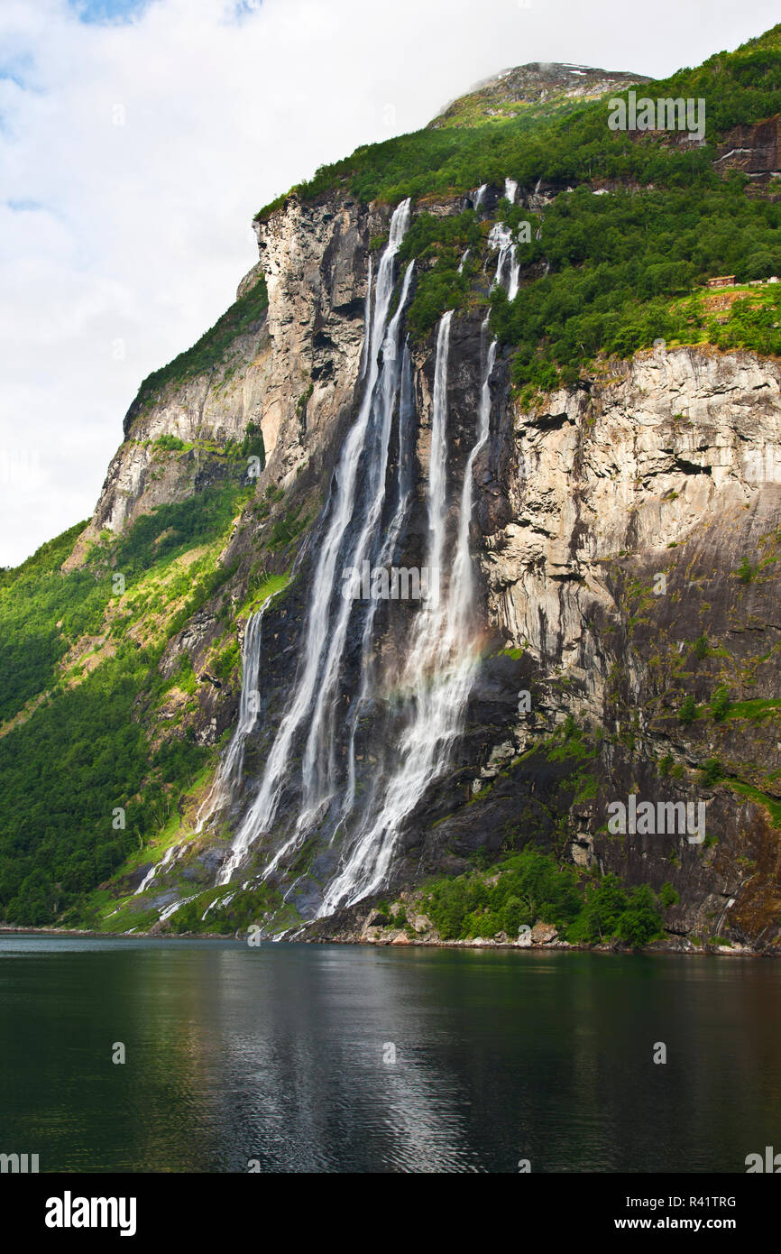 Gerainger Fjord, Norway, Seven Sisters Falls, waterfalls, Stock Photo