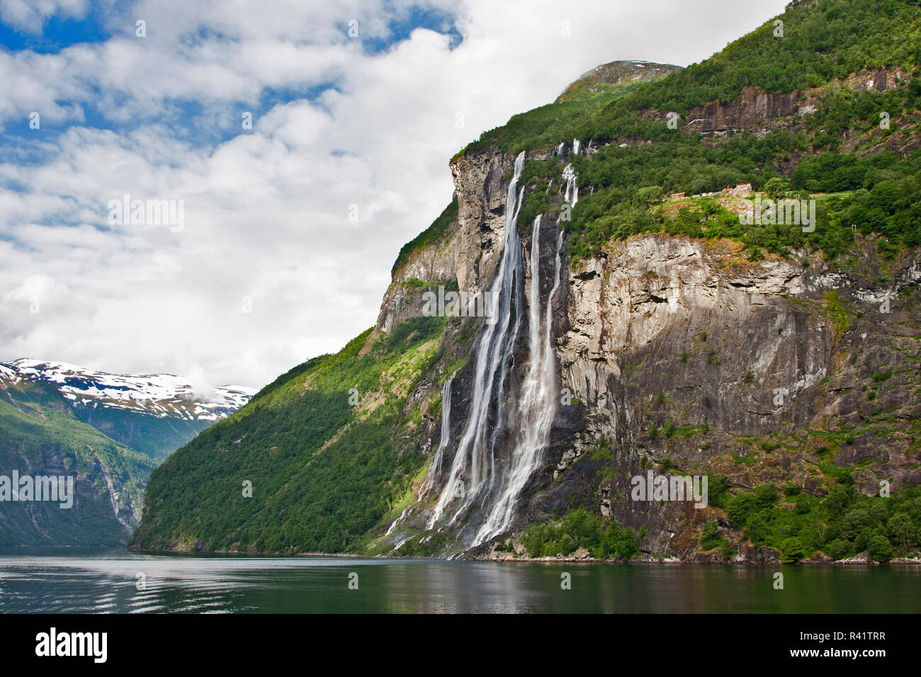 Gerainger Fjord, Norway, Seven Sisters Falls, waterfalls, Stock Photo
