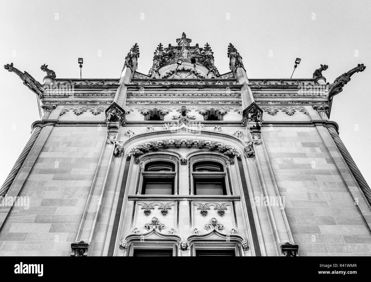 View from below of the entrance tower to the Biltmore House in Asheville, NC, USA - Stock Image
