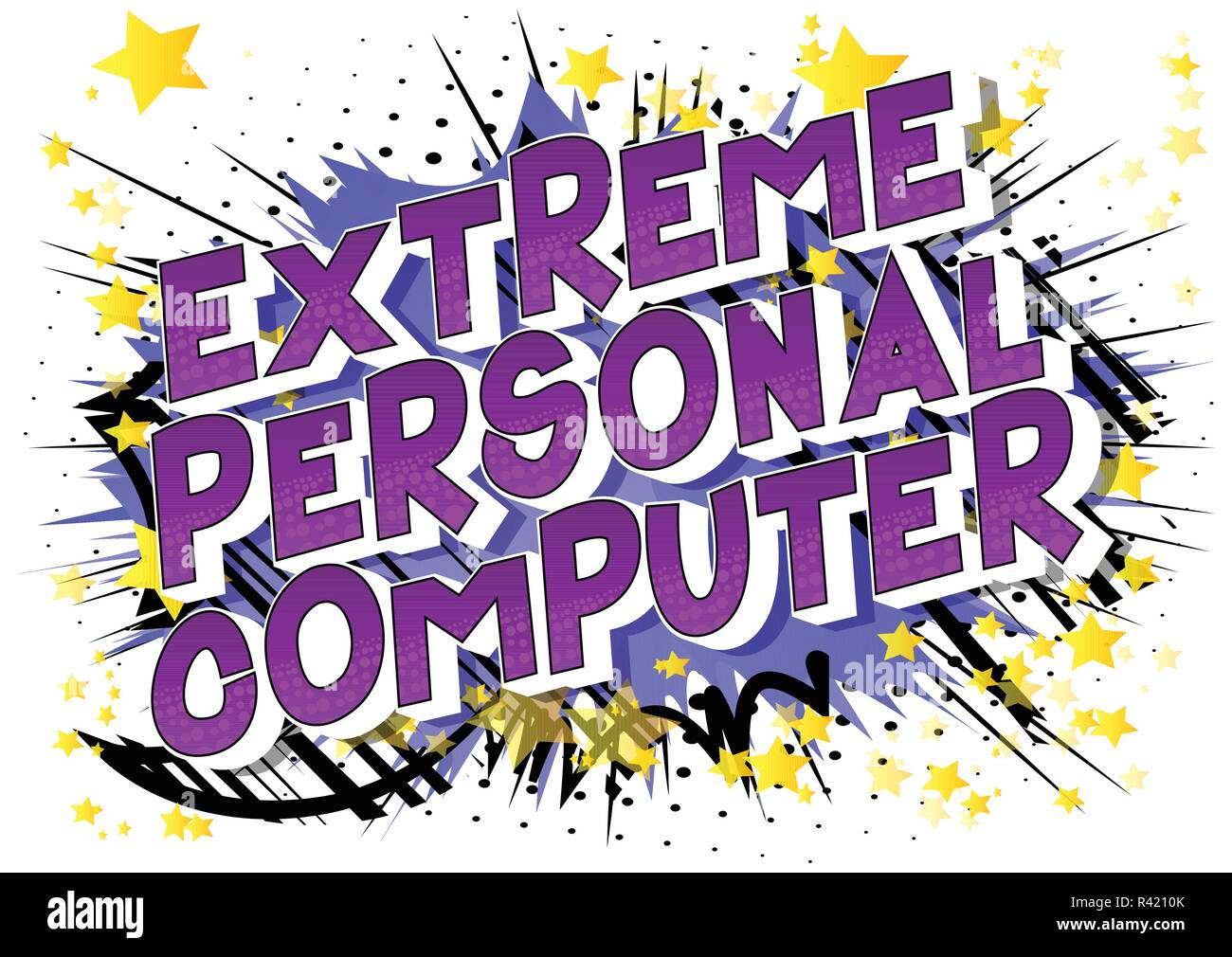 Extreme Personal Computer - Vector illustrated comic book style phrase on abstract background. - Stock Image