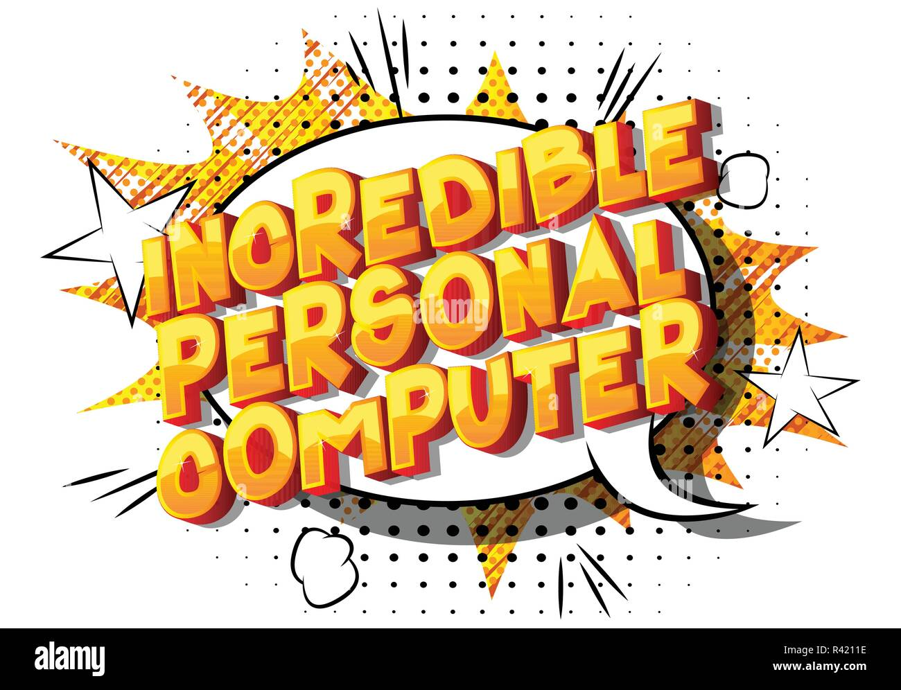 Incredible Personal Computer - Vector illustrated comic book style phrase on abstract background. - Stock Image