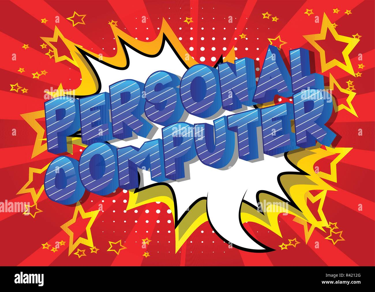 Personal Computer - Vector illustrated comic book style phrase on abstract background. - Stock Image