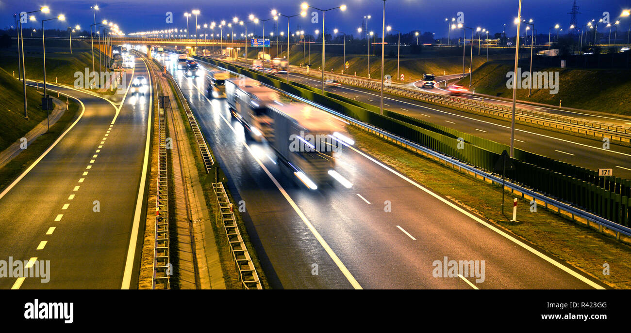 Four lane controlled-access highway in Poland Stock Photo - Alamy