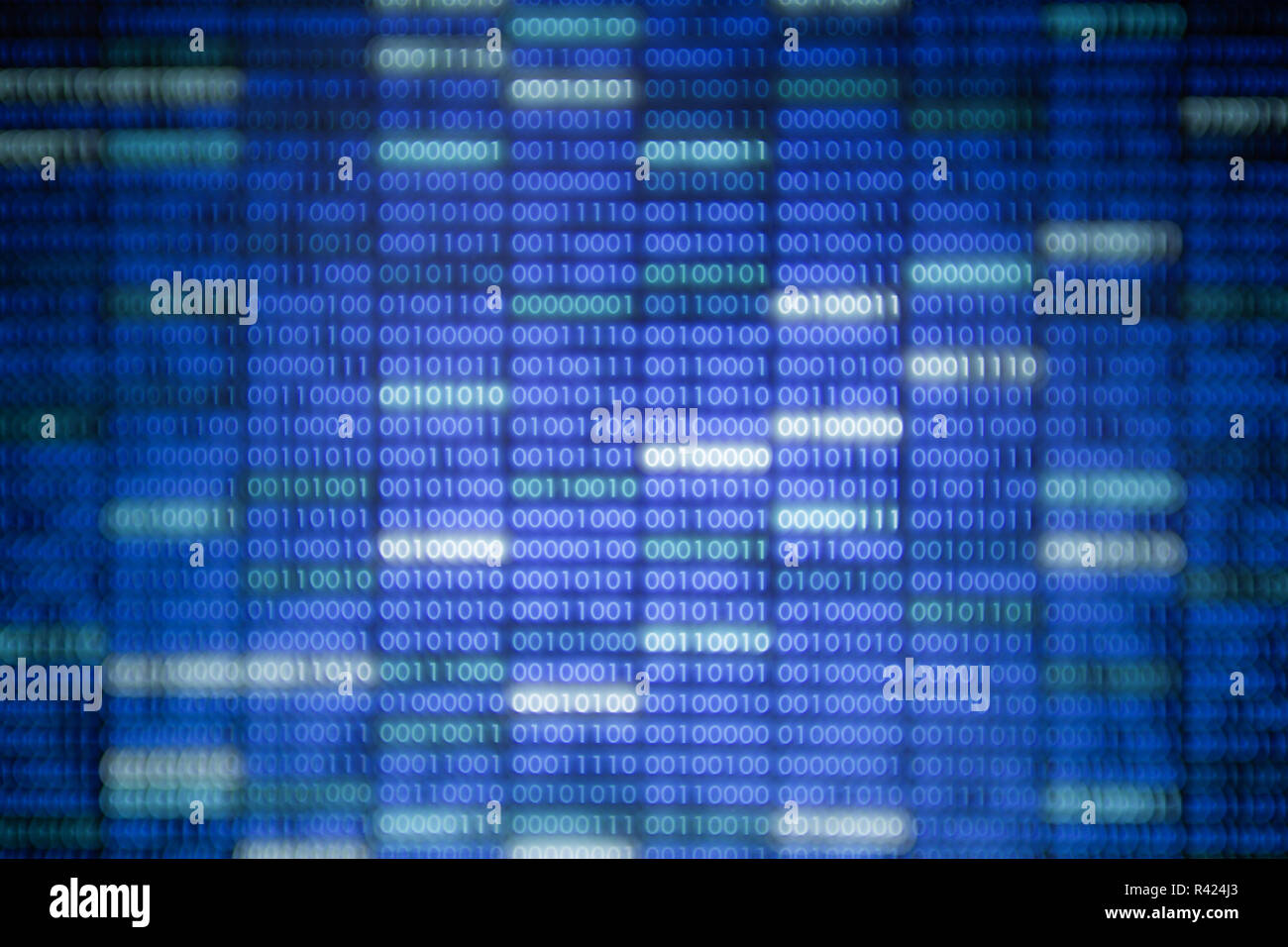 blockchain data. glowing Blue and white binary data code background for internet and cyberspace security function. block pattern of number one and zer - Stock Image