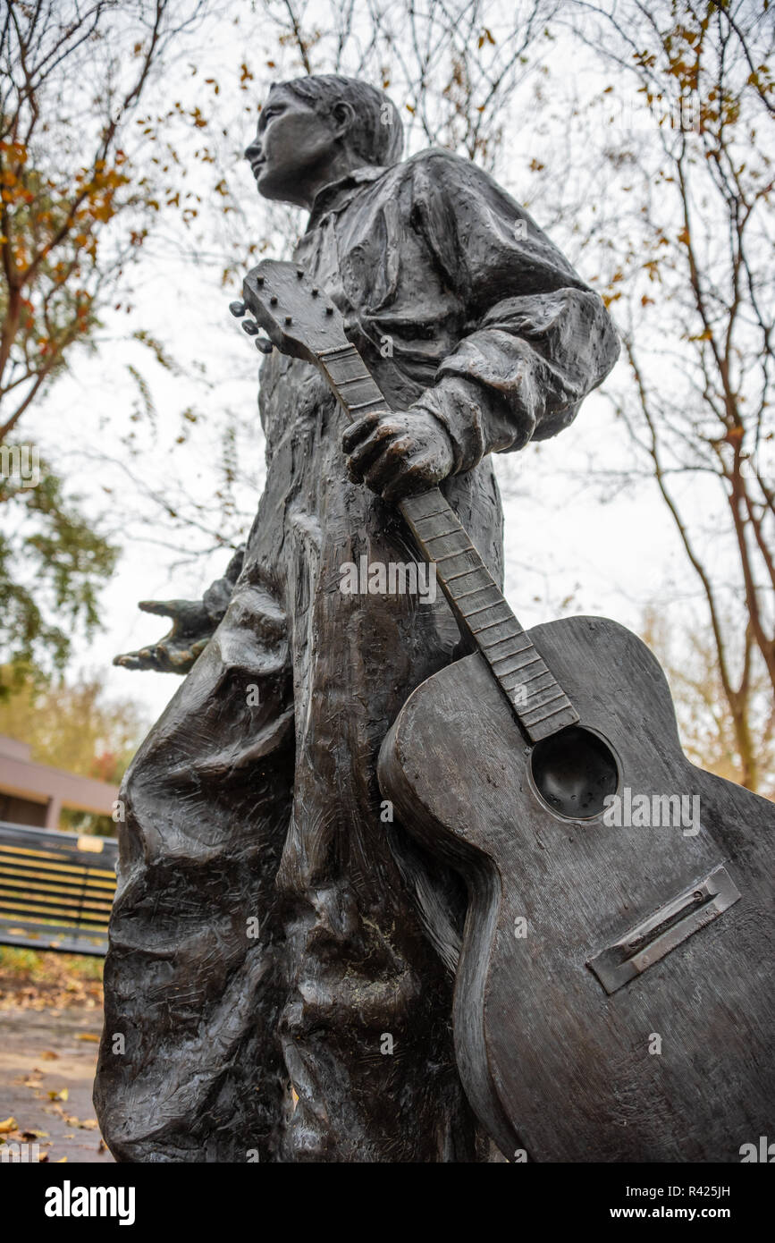 Young Elvis Presley Statue Near The Home Where He Was Born In Tupelo Mississippi Usa Stock Photo Alamy