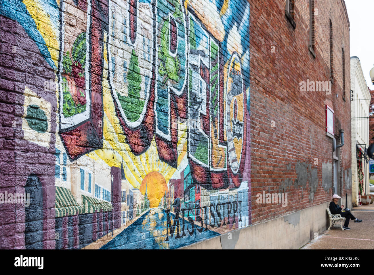 Downtown Tupelo, Mississippi wall mural art. (USA) - Stock Image