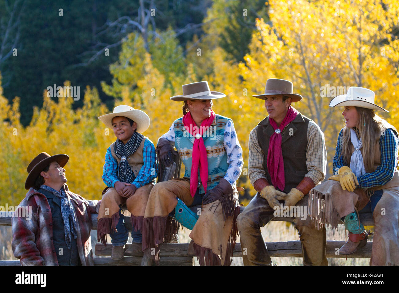 Usa, Wyoming, Shell, The Hideout Ranch, Cowboys and Cowgirls Enjoy Camaraderie (MR, PR) - Stock Image