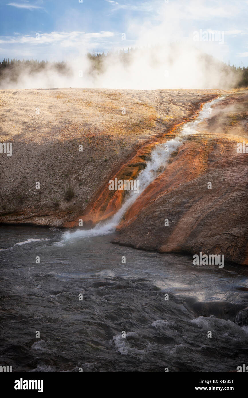 River tributary from Fumaroles. Yellowstone National Park, Wyoming. - Stock Image